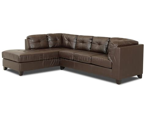 brown bonded leather affordable sectional w optional ottoman