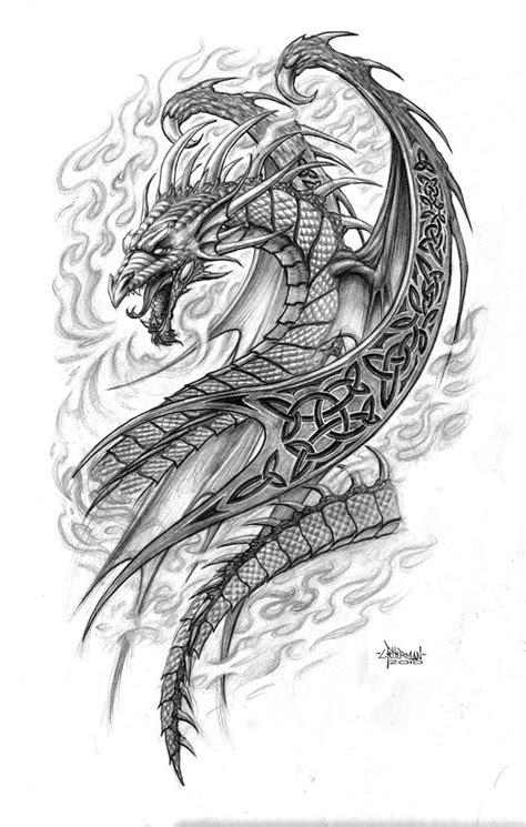 gothic dragon tattoo designs drawings celtic by loren86 on deviantart