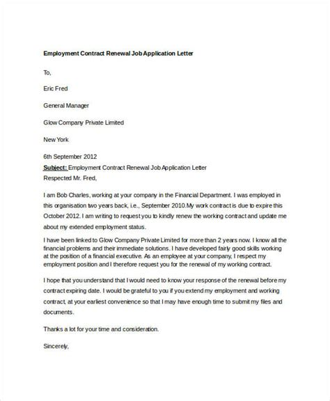 Letter Of Extension Of Employment Contract 8 application letter template for employment 10