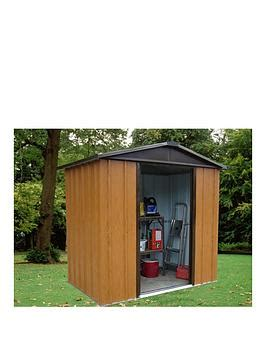 Yardmaster Apex Roof Metal Shed - yardmaster 6 7 x 4 5 ft woodgrain effect apex roof metal