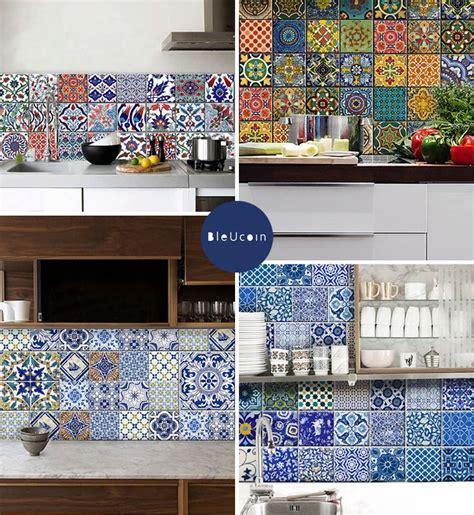 Kitchen Backsplash Tile Stickers Bleucoin S Temporary Tile Decals In Traditional Turkish Mexican And Indian Motifs Are A
