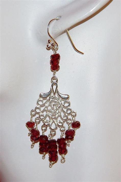 Handmade Chandelier Earrings - handmade garnet and sterling silver chandelier