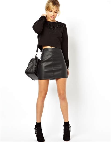 black faux leather skirt 2014 2015 fashion trends 2016 2017