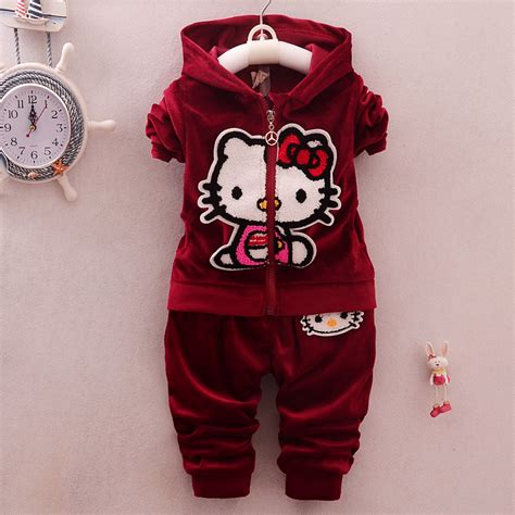 cute pattern clothes girls clothing sets winter kids clothes cute hello kitty