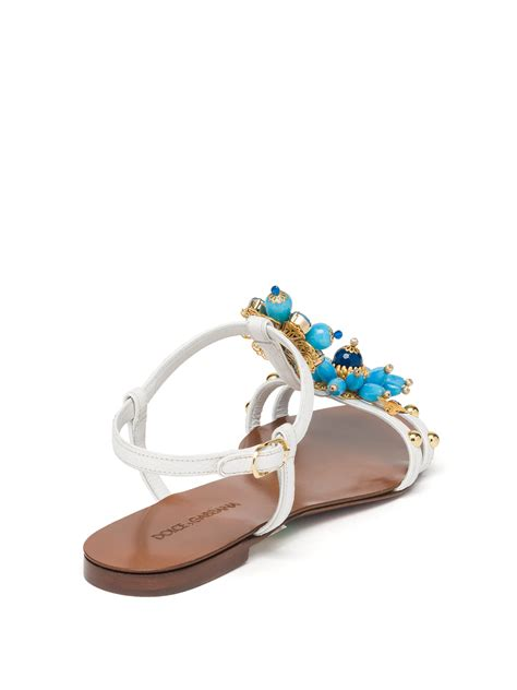 jeweled flat shoes dolce gabbana jeweled leather flat sandals in blue lyst