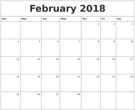printable monthly calendar february 2018 february calendars