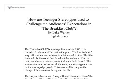 Club Essay by Breakfast Club Stereotypes Essay