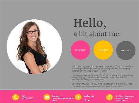 E Portfolio Templates mycurry resume cover letters