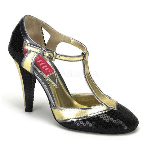 flapper shoes bordello cabaret gold black sequin t pumps flapper