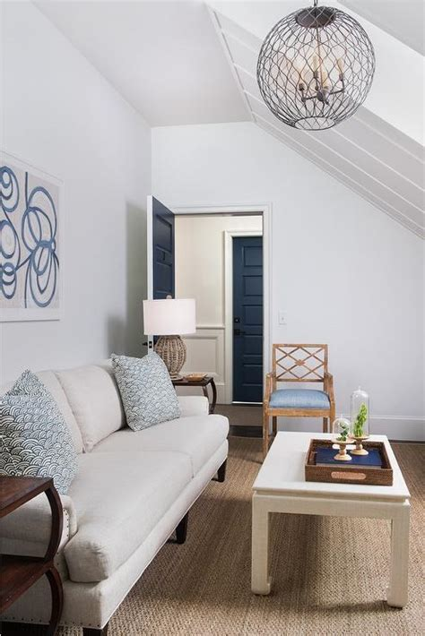 decorpad living rooms light gray linen sofa with blue pillows transitional living room