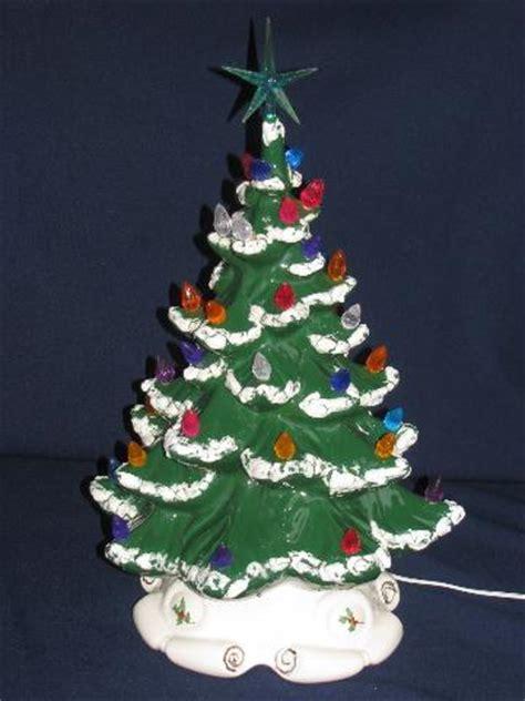 60s 70s vintage handmade ceramic christmas tree w plastic