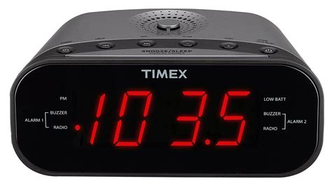 timex t231gy am fm dual alarm clock radio with 1 2 inch display and line in