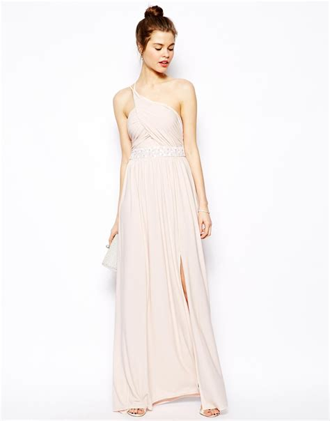 Maxi Ones lyst asos embellished maxi dress with one shoulder in pink