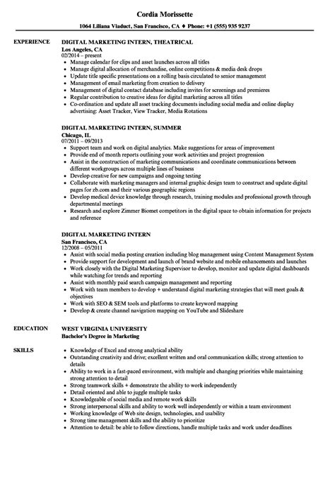 Marketing Intern Resume by Digital Marketing Intern Resume Sles Velvet