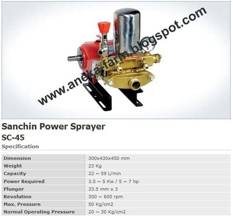 Timbangan Prohex aneka farm sanchin power sprayer sc 45