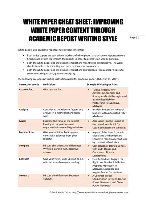 Academic Writing Sle Essay white paper sheet improving white paper content