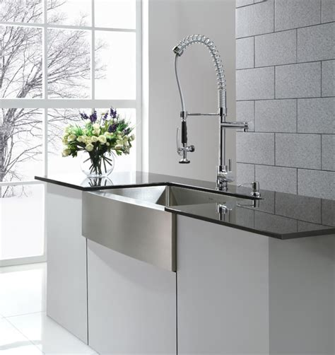 kraus khf200 36 farmhouse kitchen sink and kpf1602 commercial style faucet