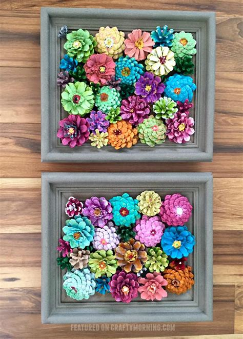 powder diy and crafts and design on pinterest framed flower decor made from pine cones crafty morning