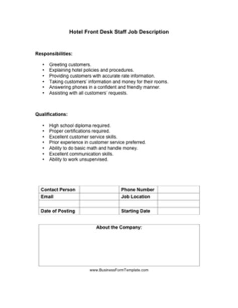 hotel industry templates hotel front desk staff description template