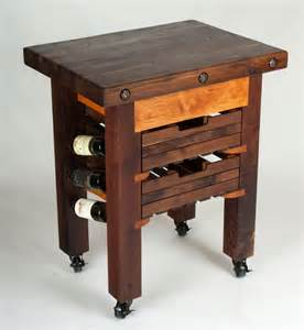 Farm House Design Hand Made Walnut And Cherry Butcher Block Island Wine Rack