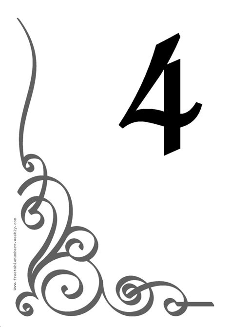 free printable wedding table number templates free flourish printable diy table numbers free table numbers