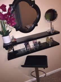 Makeup Vanity In My Own Diy Vanity I Made Using Floating Shelves