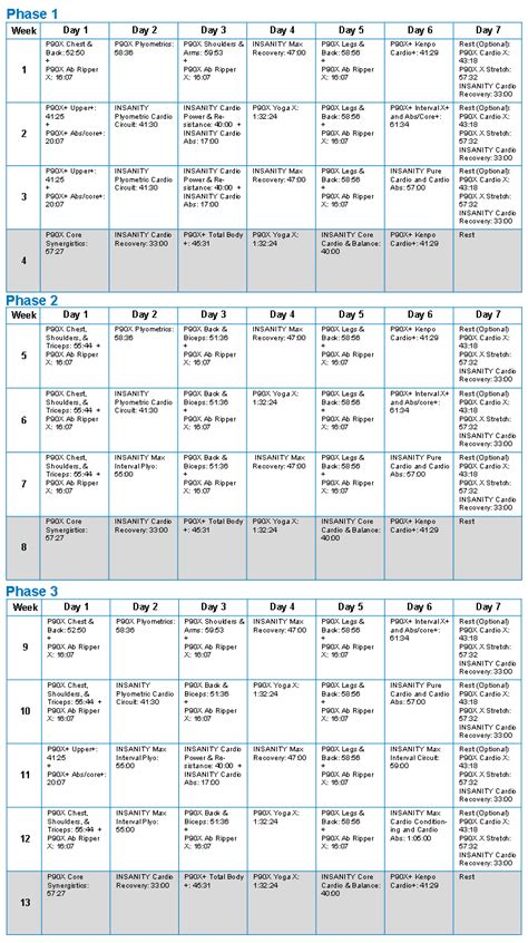 printable lifting schedule printable p90x workout schedule calendar template 2016