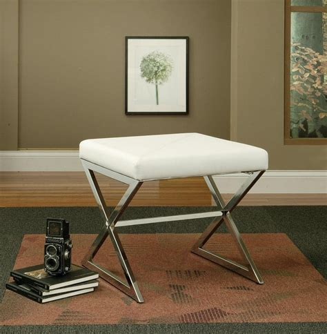White White Vinyl Ottoman With Metal Legs 501063 From