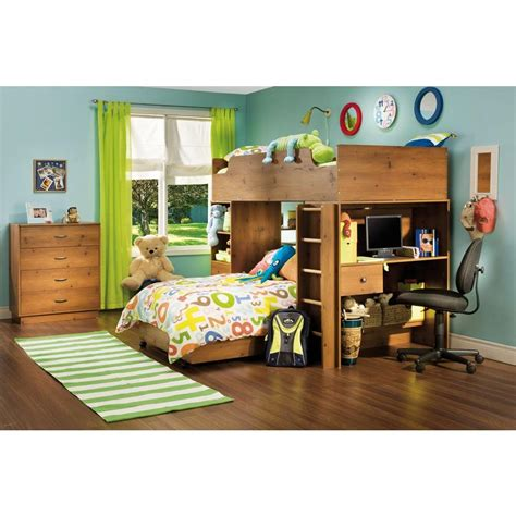 south shore loft bed south shore logik twin loft bed in sunny pine 4 piece