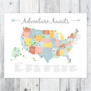 adventure awaits us national park map by bellepapermarket