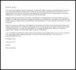 Cover Letter For A Consulting Firm by Business Consultant Recommendation Letter Sle Livecareer