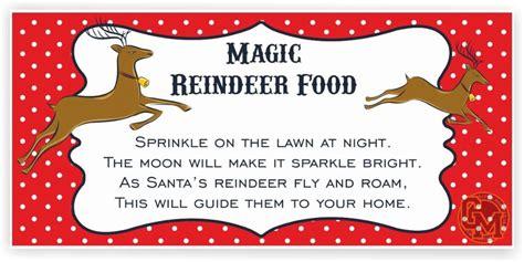 printable magic reindeer food labels magic reindeer food adhesive tag labels