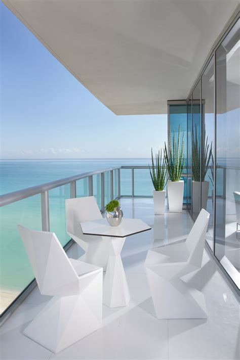 custom modern white miami patio furniture in condo