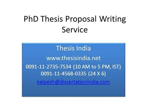 Phd Thesis Proposal Writing Service Authorstream Phd Research Presentation