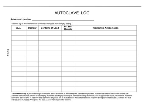 autoclave log template autoclave log sle in word and pdf formats