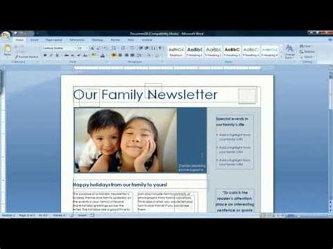 how to make a newsletter how to create a newsletter in microsoft word 2007