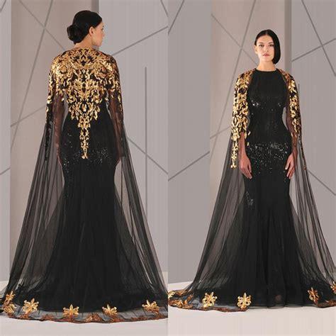 Black Arabic Muslim Evening Dresses Tulle Cloak Gold Black Sequins 2017 Plus Size Mermaid Formal