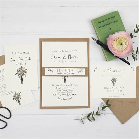 Post Card Wedding Invitations by Bespoke Elsie Postcard Wedding Invitation By Wildflower