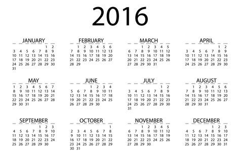 printable monthly calendars for 2016 2016 calendar download