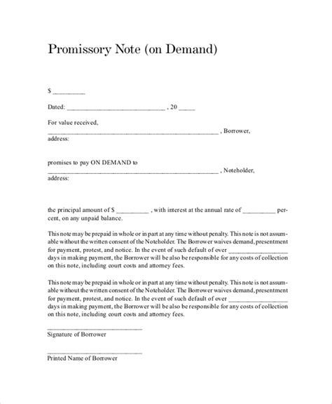 8 Sle Promissory Notes Sle Templates Master Promissory Note Template