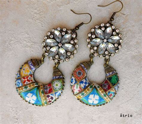 azulejo earrings portugal antique azulejo tile chandelier earrings mosaic
