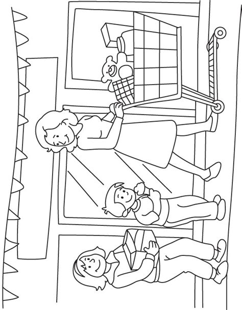 preschool coloring pages grocery store mother and kids shopping in the super market download