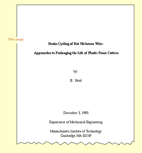 cover page format for book report