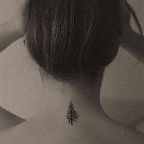 small tattoo on back of neck image result for pine tree back of the neck
