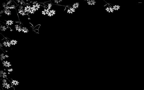 black and white wallpaper for walls flowers on the black wall wallpaper digital art