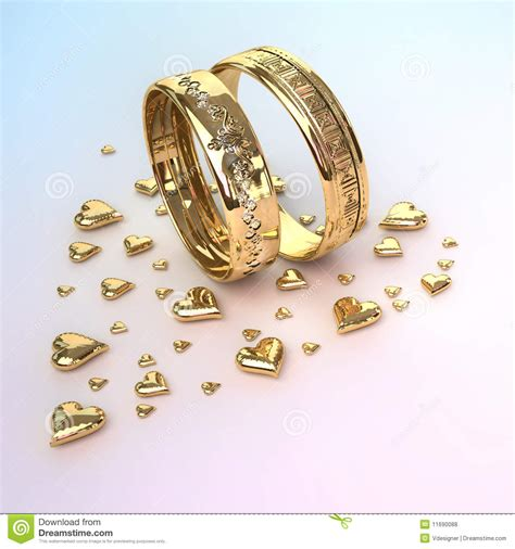 Wedding Rings With Hearts by Wedding Rings With Hearts Royalty Free Stock Photos