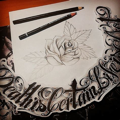 tattoo design oldschoolstyle rose lettering weed flickr