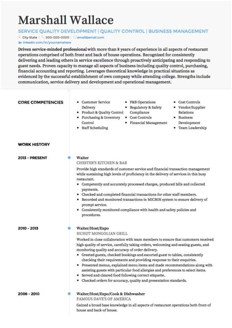 Waiter Resume Sle Free Resume Templates For A Waitress Waitress Resume Sle