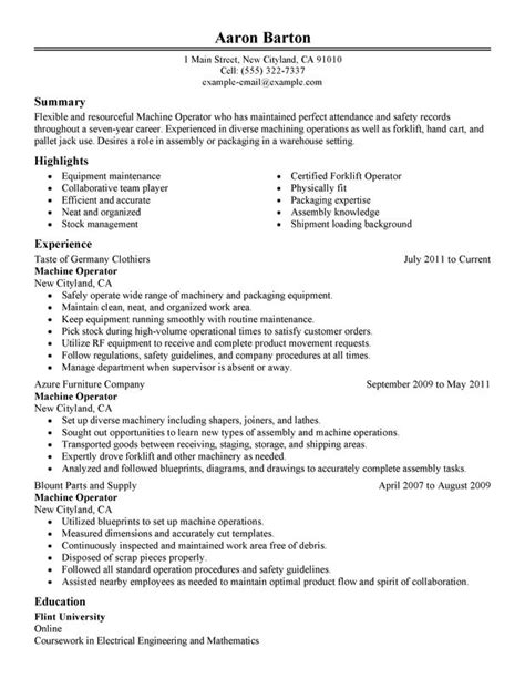 sle resume for machine operator position machine operator resume exles created by pros