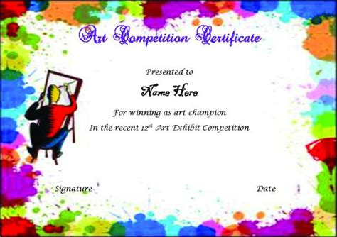 certificate design for drawing competition winner certificate template 40 word templates for